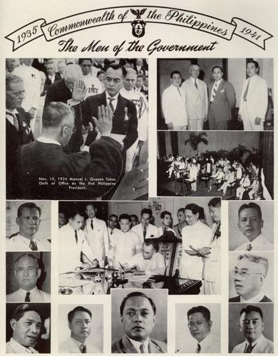 (Clockwise) Jose Abad Santos, Chief Justice Avancena, Jorge Vargas, Benigno Aquino Sr. Quintin Paredes, Manuel Roxas, Stero Baluyot, Rafael Alunan Sr., Teofilo Sison